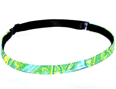 Non slip Fitness headband with green and aqua swirls