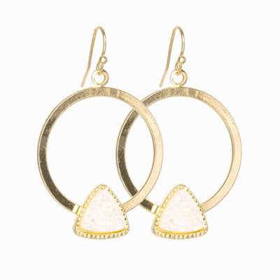 Ana Gold Hoop and Druzy Stone Earrings