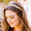 Aubrey Beaded Headband - Gold and white headband