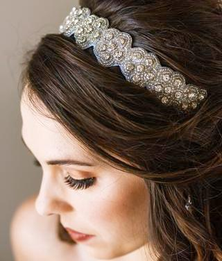 silver hand beaded couture headband in floral pattern