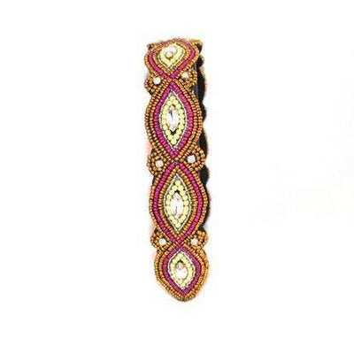 Berry and Gold beaded headband with adjustable elastic strap