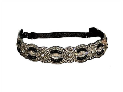 black and silver beaded adjustable hat band or headband