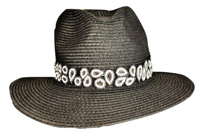 Black and white paisley hat band for sun hats