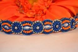 blue and orange band with crystals