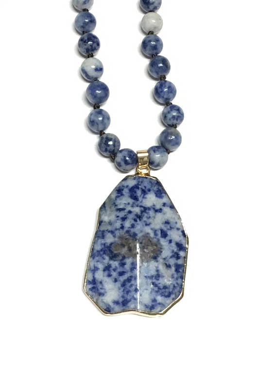 beadage shop necklace natural navy collection sodalite blue stone long necklaces silver jewelry pendant