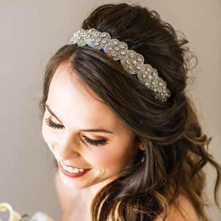 Savannah Bridal Headband - crystal headband with adjustable strap