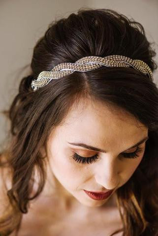 elegant crystal hand beaded headband