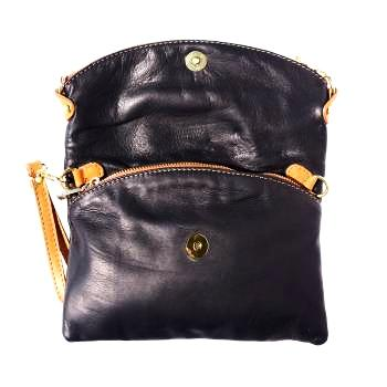 black handbag with tan leather tassels, italian leather
