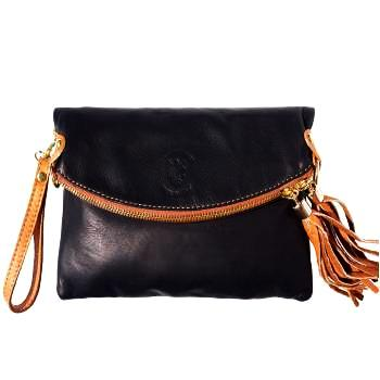 black leather handbag clutch with tassels