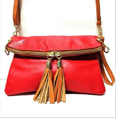 red leather handbag, red leather purse, italian handbag