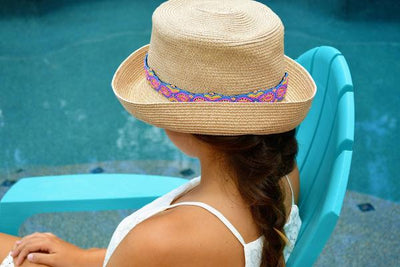 multi colored pastel beaded headband on hat