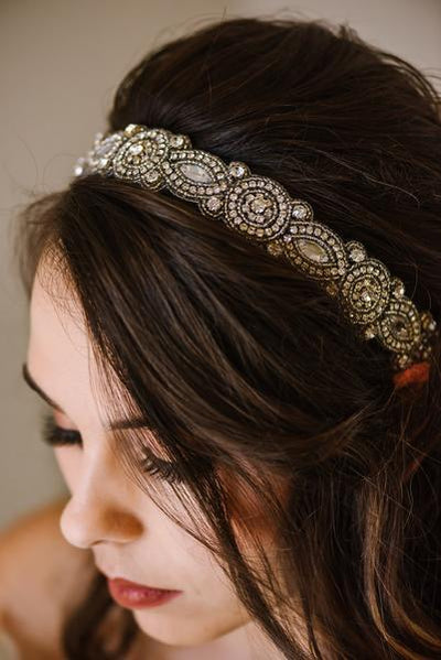 rhinestone wedding headband, bridal headband