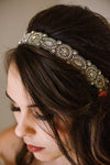 hand beaded crystal headband with adjustable elastic strap