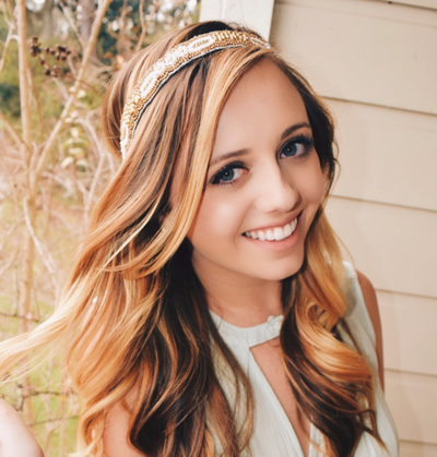 white and gold beaded headband, fashion headband