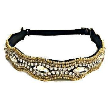 adjustable gold beaded headband with crystals