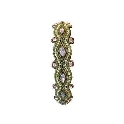 Olive green headband with crystals and gems