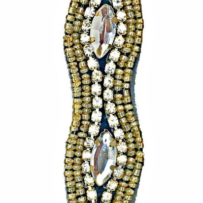 hand beaded gold and crystal beads