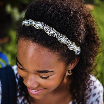 thin gold beaded headband with rhinestones