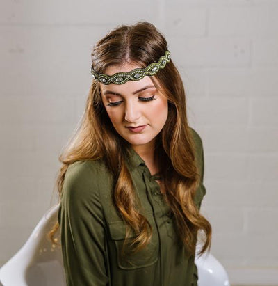 green beaded headband with adjustable elastic strap