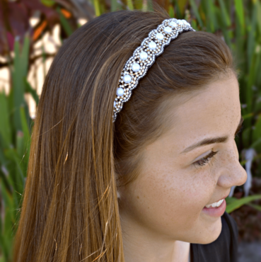 white pearl headband, thin beaded headband