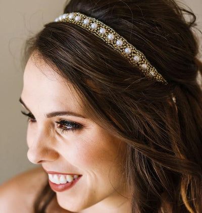 Nicole Bridal Headband - Pearl and crystal adjustable headband