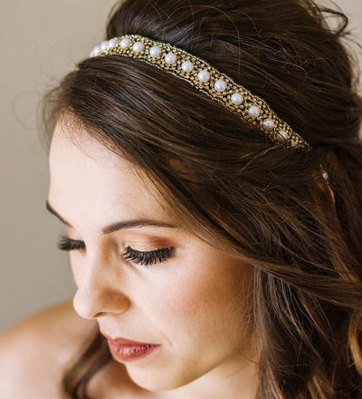 thin pearl wedding headband, wedding head piece