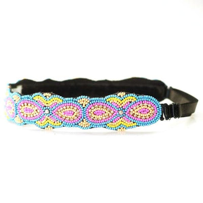 adjustable pink, yellow and blue headband
