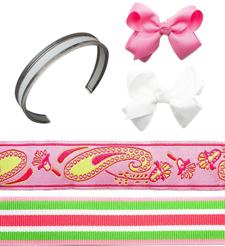 headband sets, interchangeable headbands, girls pink headbands, bows on headbands, infinity headbands