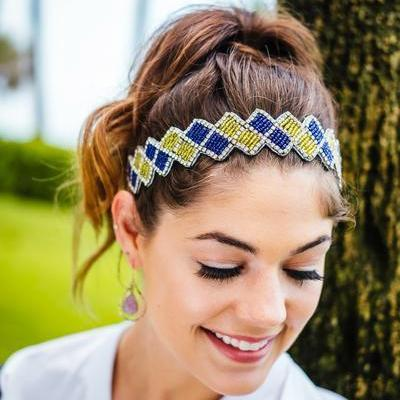 Madeline Beaded Headband - Purple and Yellow beaded headband