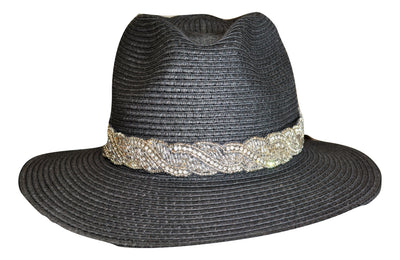 hand beaded crystal hat band on black hat