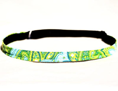 adjustable sports headband with blue and green paisley pattern