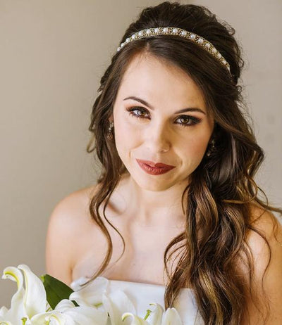bridal headband with faux pearls and crystals