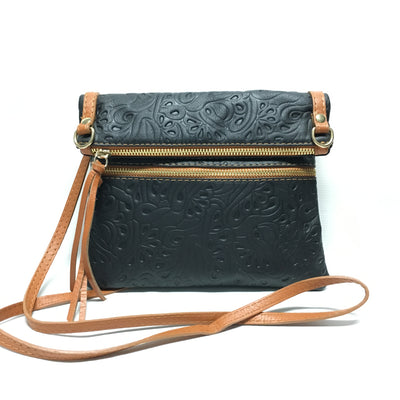 tooled black and tan italian leather purse