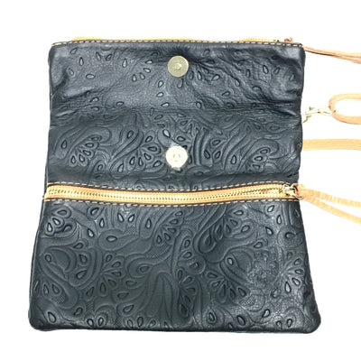 tooled black and tan italian leather purse open