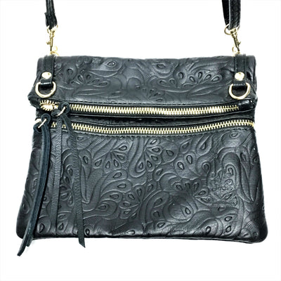 black handbag, black italian leather purse, tooled black leather