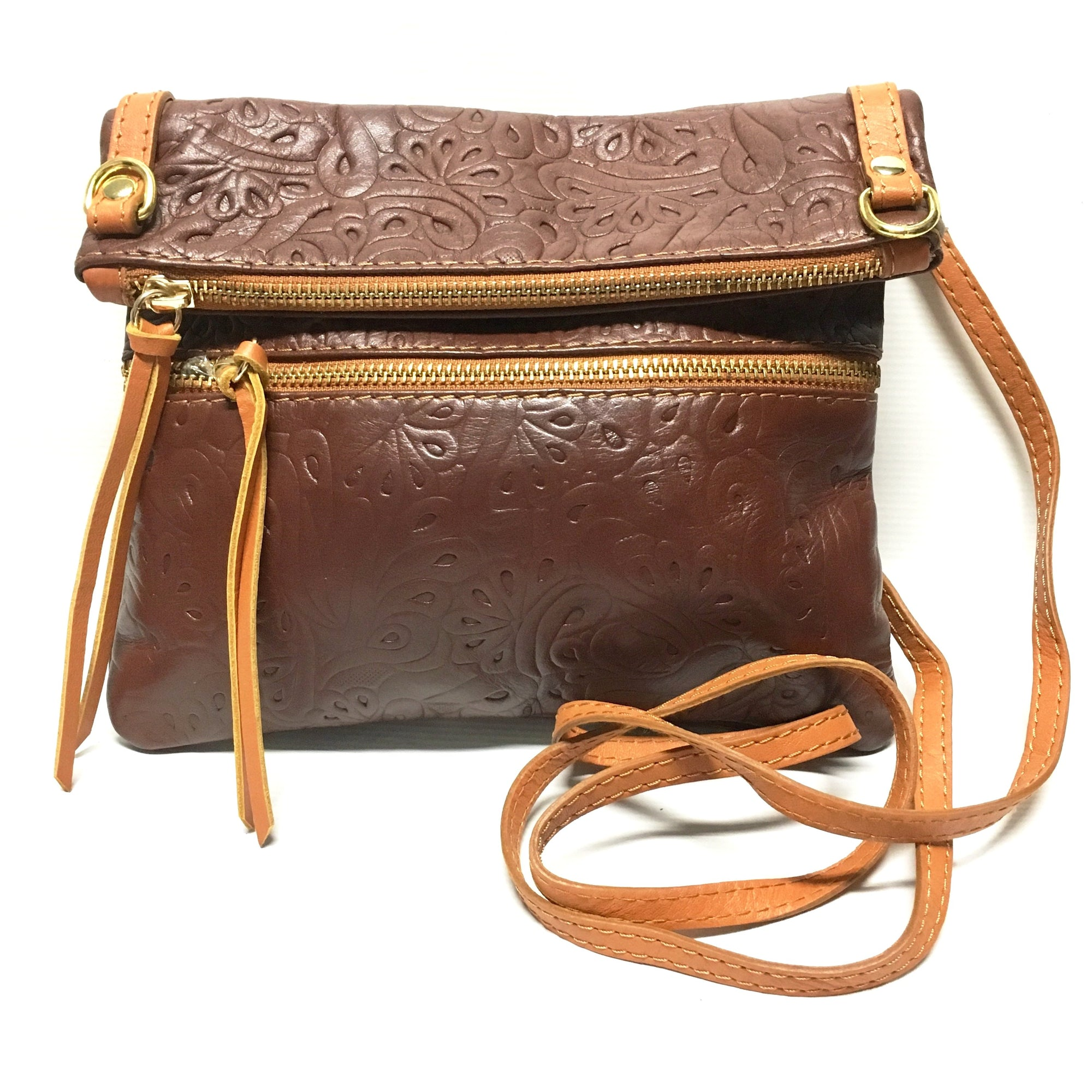 special sales professional website sneakers for cheap Italian Leather Tooled Floral Foldover Purse