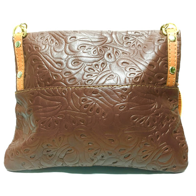 leather handbag, brown leather italian purse, back side of leather purse