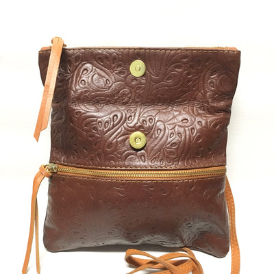 italian handbag, brown leather purse, tooled leather, italian purse