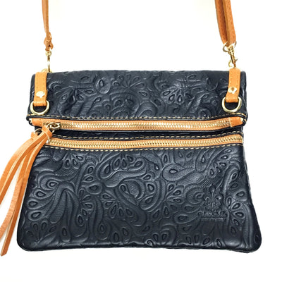 blue handbag, navy blue and tan purse, navy blue italian leather handbag