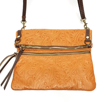 tan handbag, tan leather purse, tan italian leather, tooled leather