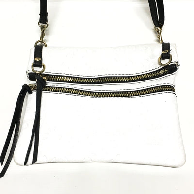 handbag, white with black tooled leather handbag, italian leather purse