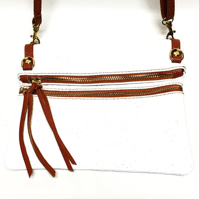 white and brown italian leather purse, tooled leather
