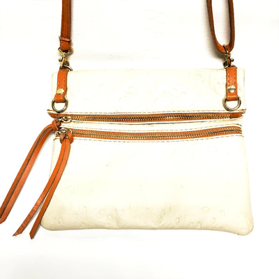 cream and tan italian leather purse, tooled italian leather