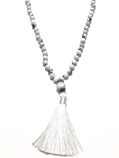 White Beaded Tassel Necklace - Infinity Headbands by Ambrosia Designs