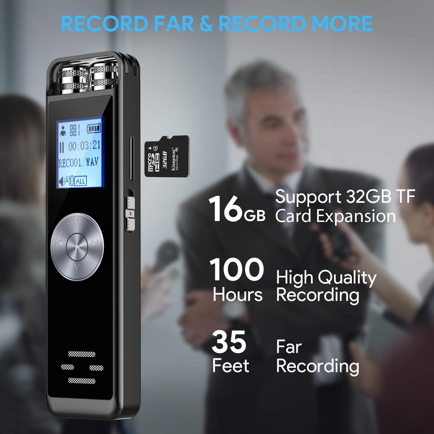 Digital Voice Recorder,TENSAFEE 16GB Activated Sound Audio Recorder Dictaphone,Portable HD USB digital Recorder with Double Microphone Support TF Card 32G Expand for Lectures//Meetings//Interviews//Class