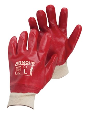 PVC Knit Cuff Glove Red
