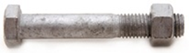 M10 Bolt & Nut Galvanised Grade 4.8
