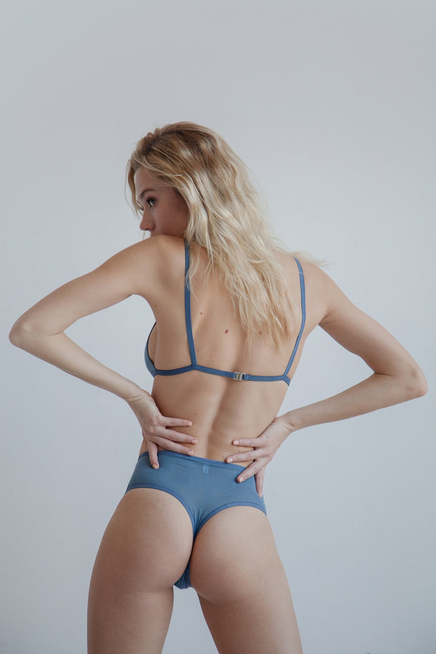 Azure dual layer sheer mesh high waisted thong
