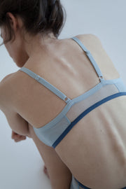 Blue sheer dual layer mesh bralette