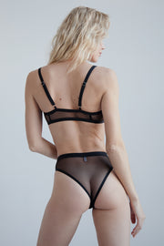 Black single layer sheer mesh high waisted bikini brief